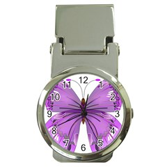 Purple Awareness Butterfly Money Clip With Watch