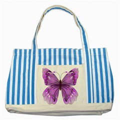Purple Awareness Butterfly Blue Striped Tote Bag