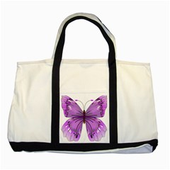 Purple Awareness Butterfly Two Toned Tote Bag