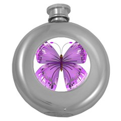 Purple Awareness Butterfly Hip Flask (round)