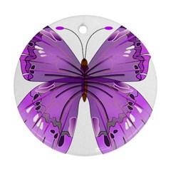 Purple Awareness Butterfly Round Ornament (Two Sides)