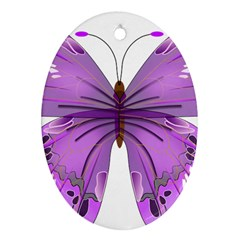 Purple Awareness Butterfly Oval Ornament (two Sides)