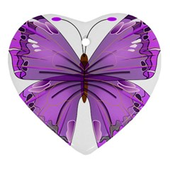 Purple Awareness Butterfly Heart Ornament (Two Sides)