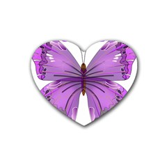Purple Awareness Butterfly Drink Coasters 4 Pack (Heart)