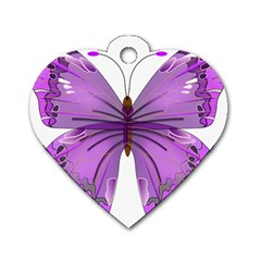 Purple Awareness Butterfly Dog Tag Heart (one Sided)