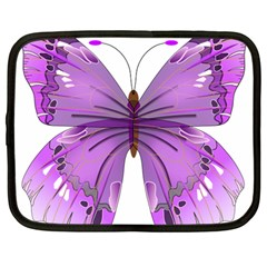Purple Awareness Butterfly Netbook Sleeve (large)