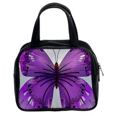 Purple Awareness Butterfly Classic Handbag (Two Sides)