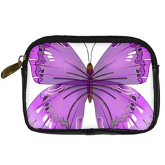 Purple Awareness Butterfly Digital Camera Leather Case