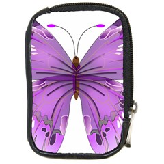 Purple Awareness Butterfly Compact Camera Leather Case