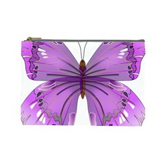 Purple Awareness Butterfly Cosmetic Bag (Large)