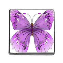 Purple Awareness Butterfly Memory Card Reader with Storage (Square)