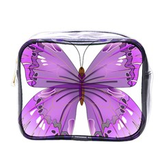 Purple Awareness Butterfly Mini Travel Toiletry Bag (one Side)