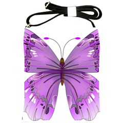 Purple Awareness Butterfly Shoulder Sling Bag
