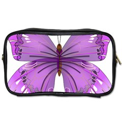 Purple Awareness Butterfly Travel Toiletry Bag (Two Sides)