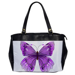 Purple Awareness Butterfly Oversize Office Handbag (one Side)