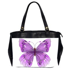 Purple Awareness Butterfly Oversize Office Handbag (Two Sides)
