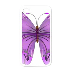 Purple Awareness Butterfly Apple Iphone 4 Case (white)