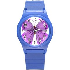 Purple Awareness Butterfly Plastic Sport Watch (Small)