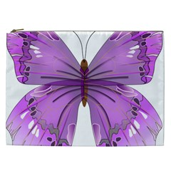 Purple Awareness Butterfly Cosmetic Bag (XXL)