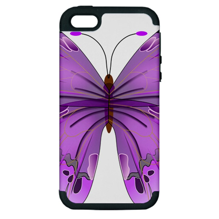 Purple Awareness Butterfly Apple iPhone 5 Hardshell Case (PC+Silicone)