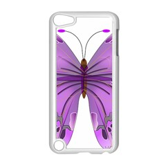 Purple Awareness Butterfly Apple iPod Touch 5 Case (White)