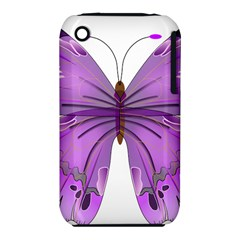 Purple Awareness Butterfly Apple Iphone 3g/3gs Hardshell Case (pc+silicone)