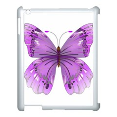 Purple Awareness Butterfly Apple iPad 3/4 Case (White)