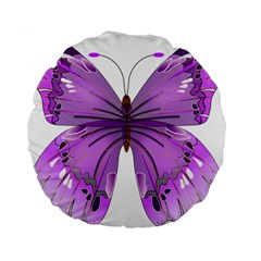 Purple Awareness Butterfly 15  Premium Round Cushion