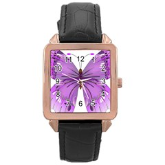 Purple Awareness Butterfly Rose Gold Leather Watch