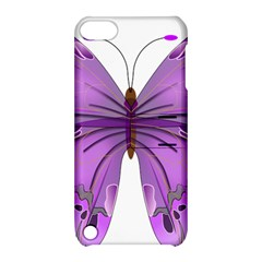 Purple Awareness Butterfly Apple Ipod Touch 5 Hardshell Case With Stand