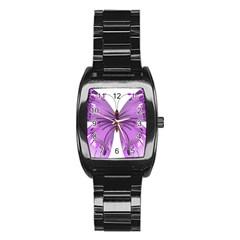 Purple Awareness Butterfly Stainless Steel Barrel Watch