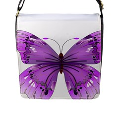 Purple Awareness Butterfly Flap Closure Messenger Bag (Large)