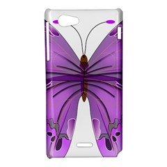 Purple Awareness Butterfly Sony Xperia J Hardshell Case