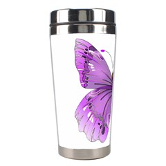 Purple Awareness Butterfly Stainless Steel Travel Tumbler