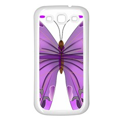 Purple Awareness Butterfly Samsung Galaxy S3 Back Case (White)