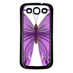 Purple Awareness Butterfly Samsung Galaxy S3 Back Case (Black)