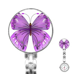 Purple Awareness Butterfly Stainless Steel Nurses Watch