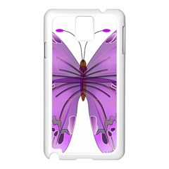 Purple Awareness Butterfly Samsung Galaxy Note 3 N9005 Case (White)