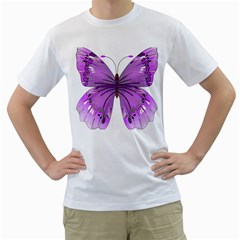 Purple Awareness Butterfly Men s T Shirt (white)