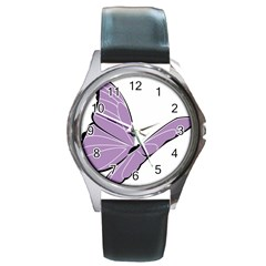 Purple Awareness Butterfly 2 Round Leather Watch (Silver Rim)