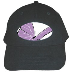 Purple Awareness Butterfly 2 Black Baseball Cap