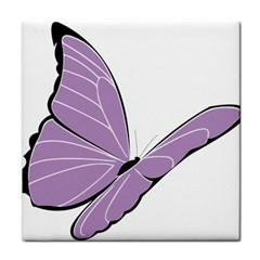Purple Awareness Butterfly 2 Ceramic Tile