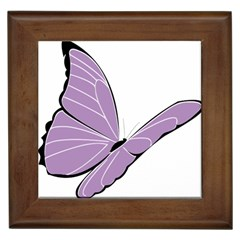Purple Awareness Butterfly 2 Framed Ceramic Tile