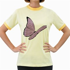 Purple Awareness Butterfly 2 Women s Ringer T-shirt (Colored)