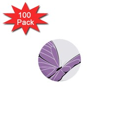 Purple Awareness Butterfly 2 1  Mini Button (100 pack)
