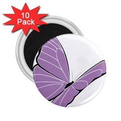 Purple Awareness Butterfly 2 2.25  Button Magnet (10 pack)
