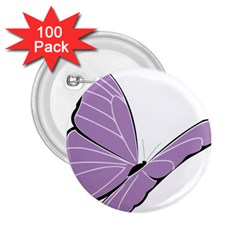 Purple Awareness Butterfly 2 2 25  Button (100 Pack)