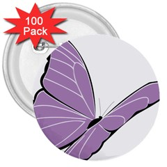 Purple Awareness Butterfly 2 3  Button (100 pack)