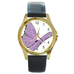 Purple Awareness Butterfly 2 Round Leather Watch (Gold Rim)