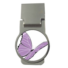 Purple Awareness Butterfly 2 Money Clip (Round)